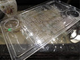 VINTAGE 1970'S LUCITE SNACK TRAY/CHIP & DIP SERVER, APP