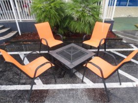 5 PC CONTEMPORARY PATIO SET, 4 ARMCHAIRS WITH ORANGE SE