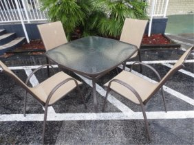 7 PC CONTEMPORARY PATIO SET, 6 ARMCHAIRS, SQUARE TABLE,