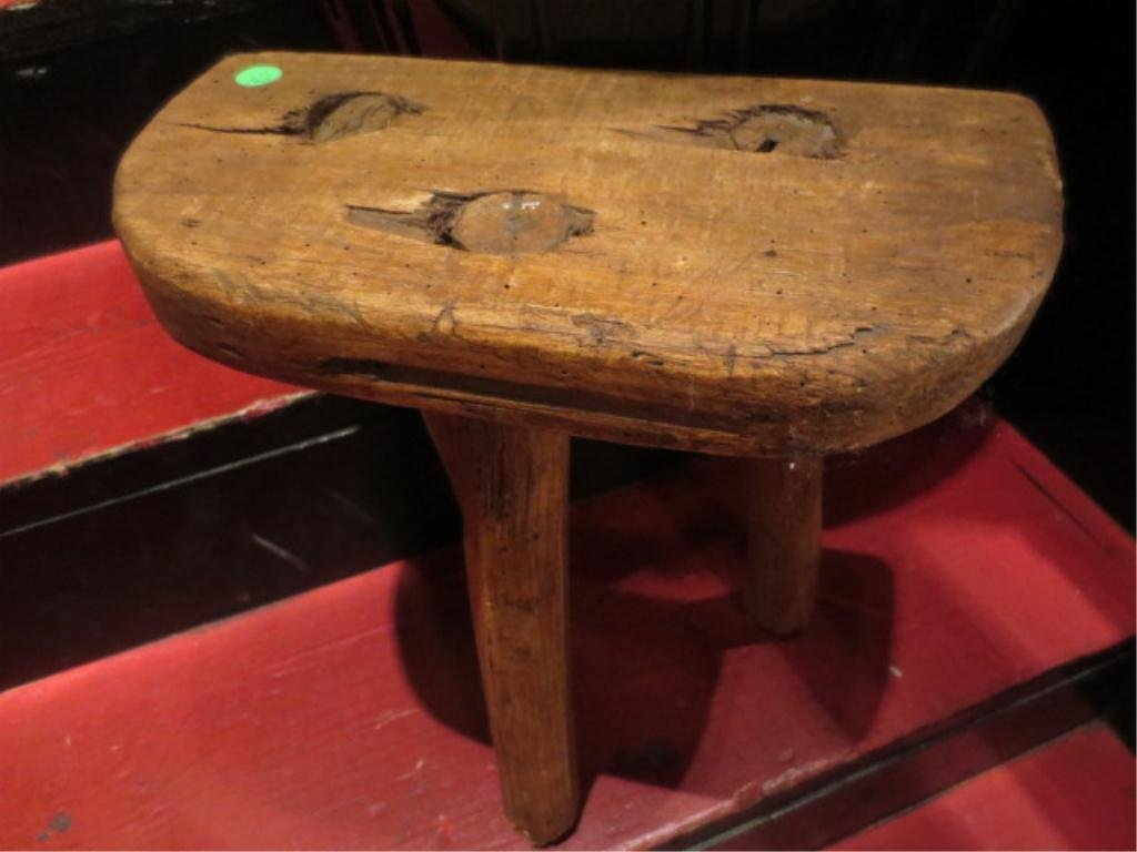 "RUSTIC ANTIQUE 3 LEGGED STOOL, APPROX 14""L"