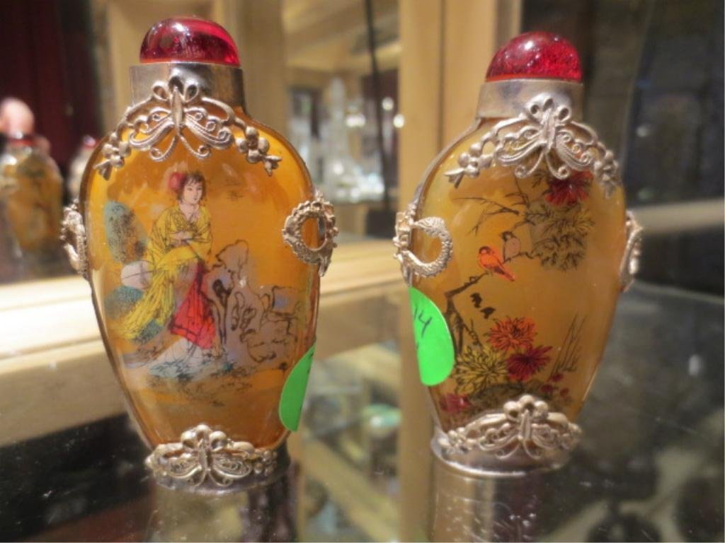 PAIR OF ELABORATELY PAINTED PERFUME BOTTLES, APPROX 3.2