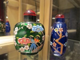 TWO PAINTED GLASS PERFUME BOTTLES, GREEN & BLUE, APPROX