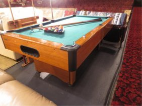 HARVARD POOL TABLE, INCLUDES BALLS, CUE RACK WITH CLOCK
