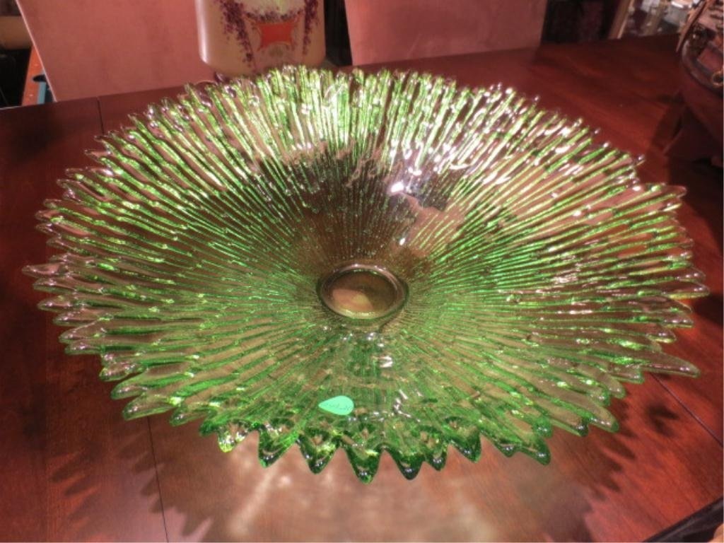 HUGE GREEN GLASS BOWL BY ECOGLASS, MADE IN SPAIN OF REC