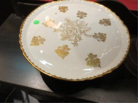 GOLD & WHITE CAKE PLATTER, HANDPAINTED IN FRANCE