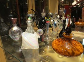 "9 ART GLASS PERFUME BOTTLES, APPROX 4"" - 7.25""H, SOLD T"