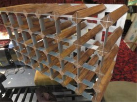 CONTEMPORARY WOOD AND STEEL WINE RACK, APPROX 3.5'L