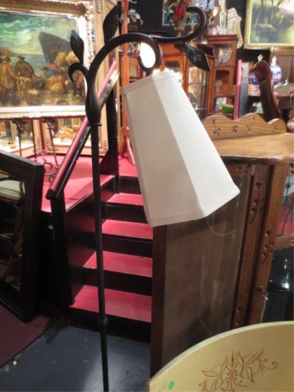 METAL FLOOR LAMP, VINE MOTIF BASE, WHITE SHADE