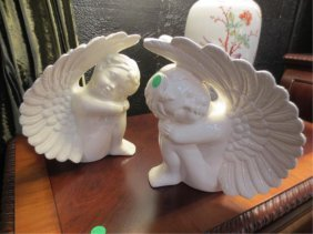 "TWO ART POTTERY CHERUBS, APPROX 9.5""H, SIGNED ON BASE"