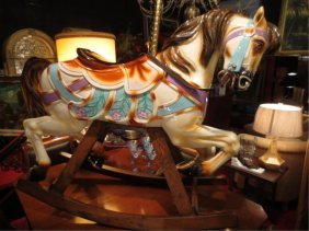 LARGE GENUINE CAROUSEL HORSE, REMODELED AS ROCKING HORS