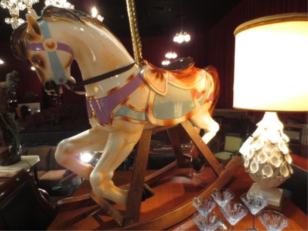 LARGE GENUINE CAROUSEL HORSE, REMODELED AS ROCKING HORS - 4