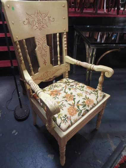 WOOD ARMCHAIR, YELLOW FINISH, FLORAL UPHOLSTERED SEAT