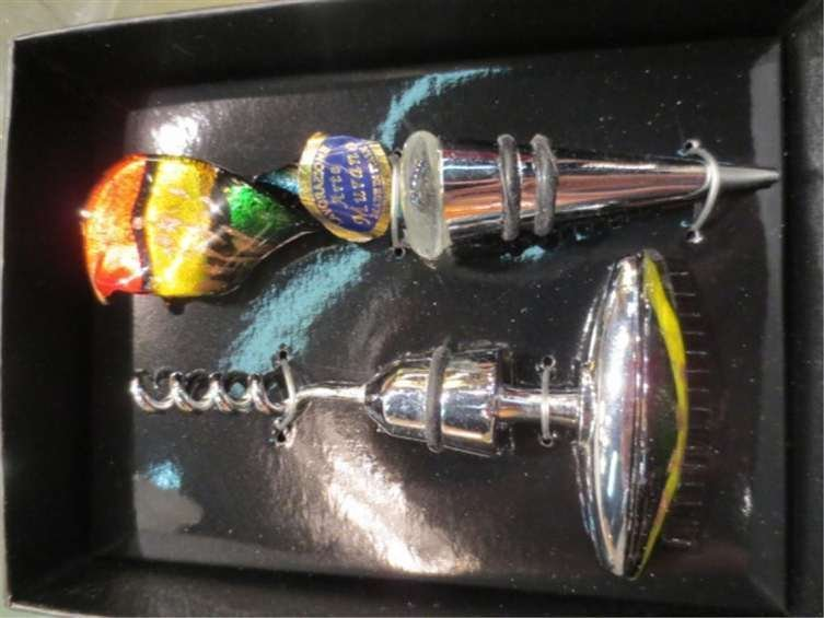 MURANO ART GLASS CORKSCREW & WINE STOPPER SET, YELLOW &
