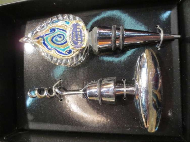 MURANO ART GLASS CORKSCREW & WINE STOPPER SET, BLUE, WI