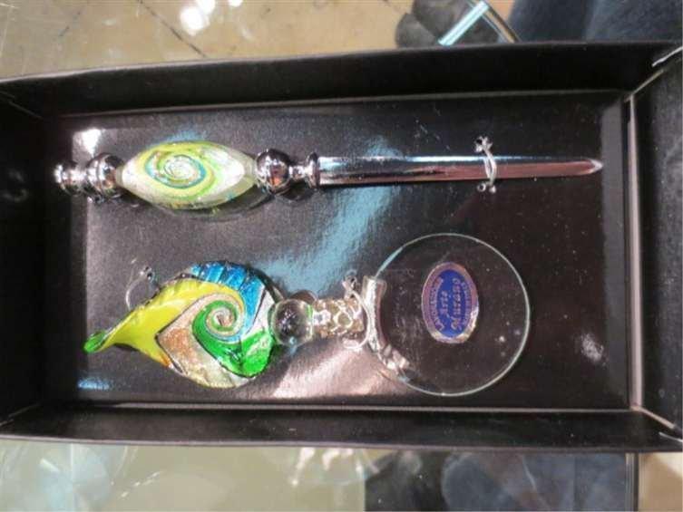 MURANO ART GLASS LETTER OPENER & MAGNIFYING GLASS SET,