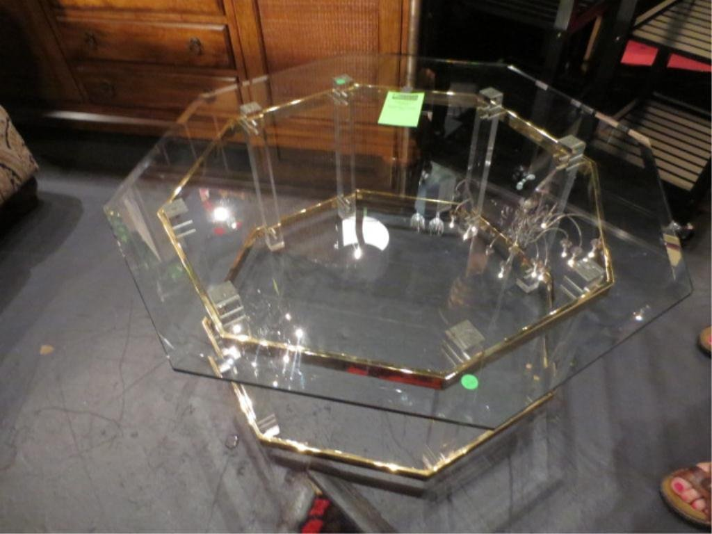 OCTAGONAL GLASS TOP COFFEE TABLE, APPROX 4'W