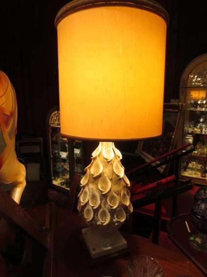 LARGE VINTAGE 1970's CERAMIC TABLE LAMP, APPLIED CERAMI