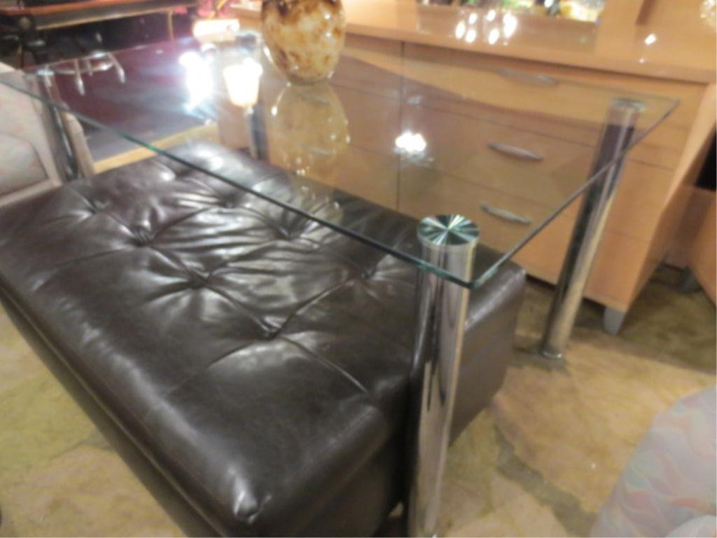 CONTEMPORARY GLASS AND CHROME TABLE OR DESK, VERY GOOD