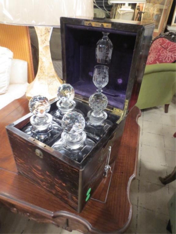 ANTIQUE ENGLISH TANTALUS, WITH 2 LIQUEUR GLASSES & 4 CU