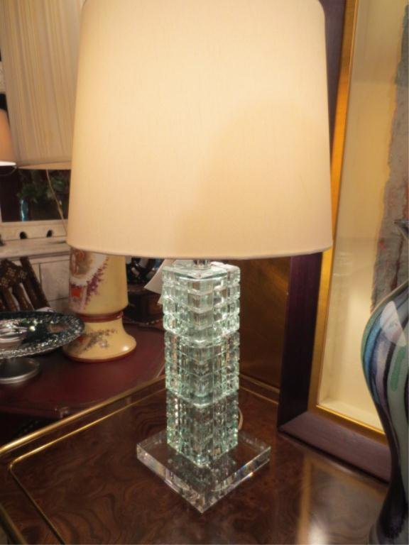 PAIR NEW BROYHILL CONTEMPORARY CRYSTAL LAMPS, PALE GREE - 4
