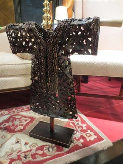 """METAL ROBE SCUPLTURE ON STAND, APPROX 24""""H"""
