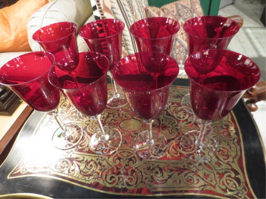 """8 RED CRYSTAL GOBLETS WITH CLEAR STEMS, APPROX 8""""H"""