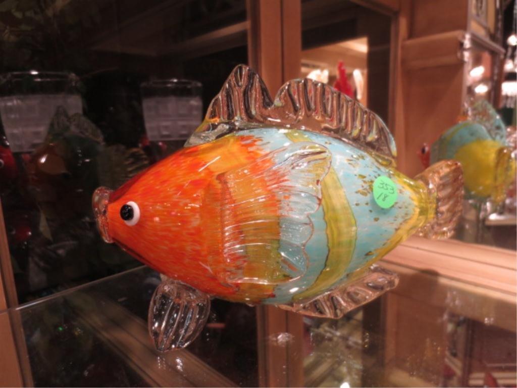 MURANO STYLE ART GLASS FISH SCULPTURE, ORANGE, BLUE & Y