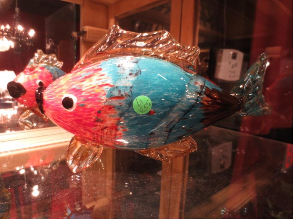 MURANO STYLE ART GLASS FISH SCULPTURE, RED, BLUE & BROW