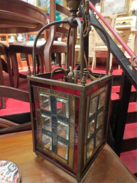 VINTAGE RECTANGULAR STAINED GLASS CEILING LIGHT, WITH C