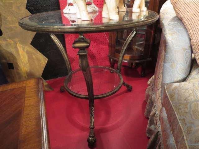 ROUND METAL TABLE, HOOF FEET, ANTIQUE BRONZE FINISH, 2