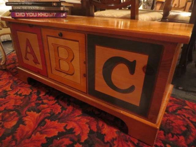 WOODEN CHEST WITH ALPHABET BLOCKS DESIGN, APPROX 3'L