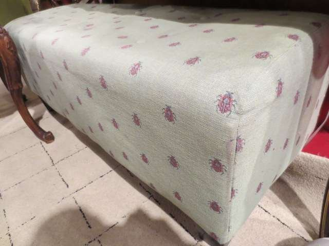 TUFTED BENCH/OTTOMAN, GREEN UPHOLSTERY WITH SMALL LADYB