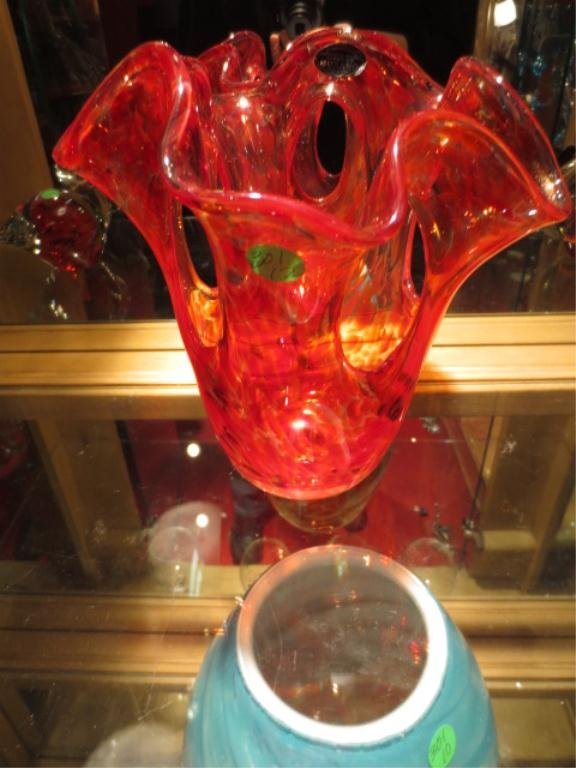 MURANO STYLE ART GLASS RED & ORANGE OPENWORK VASE, WITH