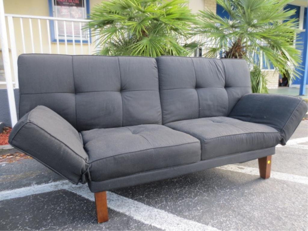 CONTEMPORARY FUTON, BLACK UPHOLSTERY, TUFTED BACK, ARMS