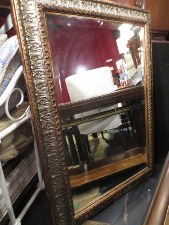 ORNATE WOOD FRAME MIRROR, SILVER/GOLD FINISH, APPROX 3'