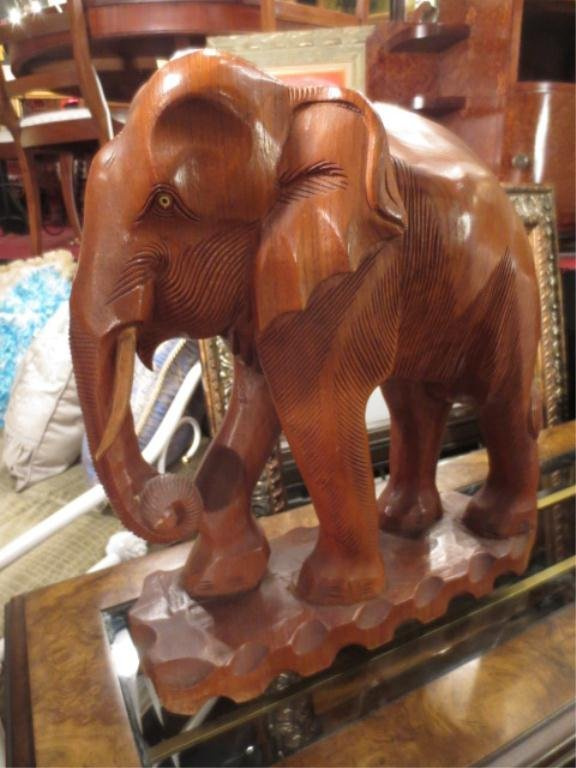 """LARGE CARVED WOOD ELEPHANT SCULPTURE, APPROX 26""""H"""