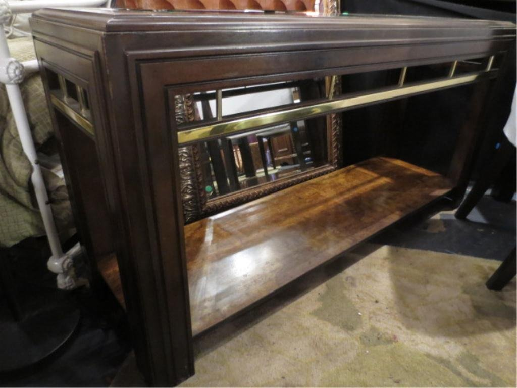 TRANSITIONAL CONSOLE TABLE, DARK FINISH, BRASS ACCENTS,