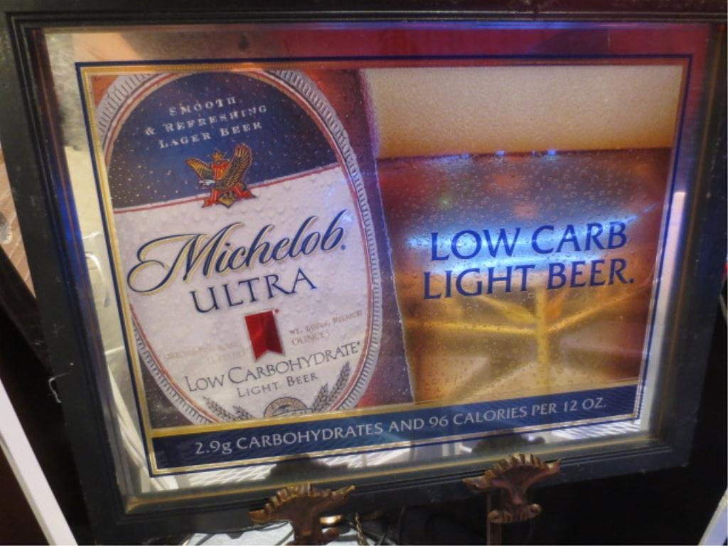 MIRRORED BAR SIGN, MICHELOB ULTRA BEER, APPROX 2.5' X 2
