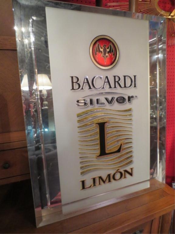 BACARDI SILVER LIMON SIGN, METALLIC LOGO ON MIRROR BACK