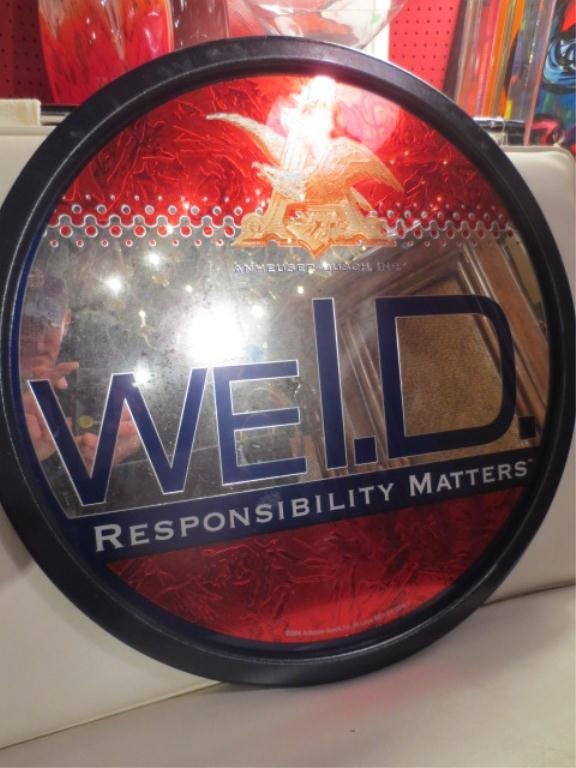 """MIRRORED BAR SIGN, """"WE I.D. - DRINK RESPONSIBLY"""" FROM A"""