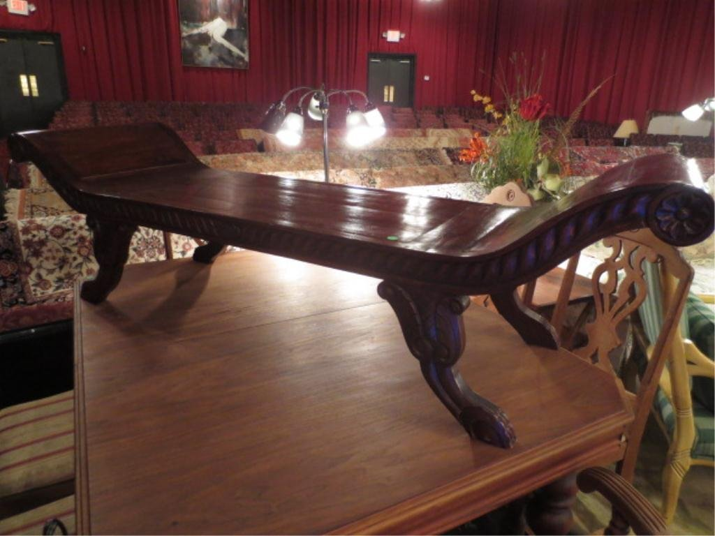 INDONESIAN CARVED WOOD BENCH, CURVED ARMS, CLAW FEET, D
