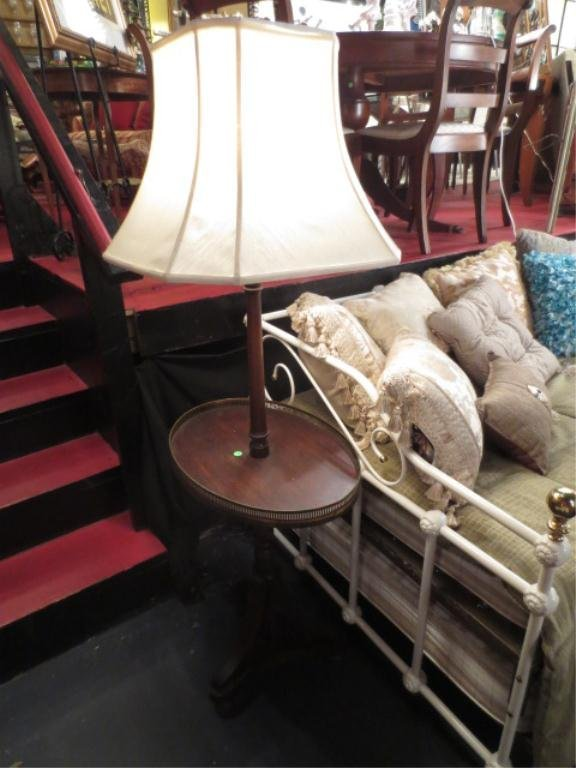 VINTAGE MAHOGANY LAMP TABLE, OVAL TABLE TOP, BRASS RAIL