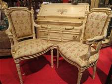PAIR LOUIS XVI STYLE ARMCHAIRS WHITE FINISH FLUTED LE