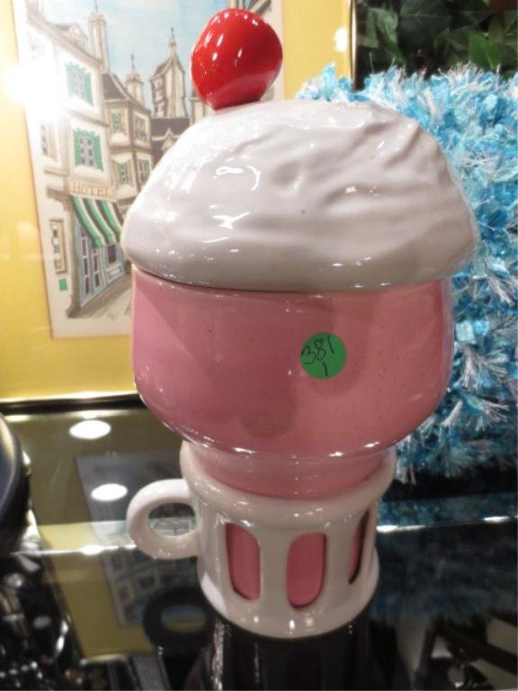 COOKIE JAR IN THE FORM OF A PINK ICE CREAM SUNDAE, APPR