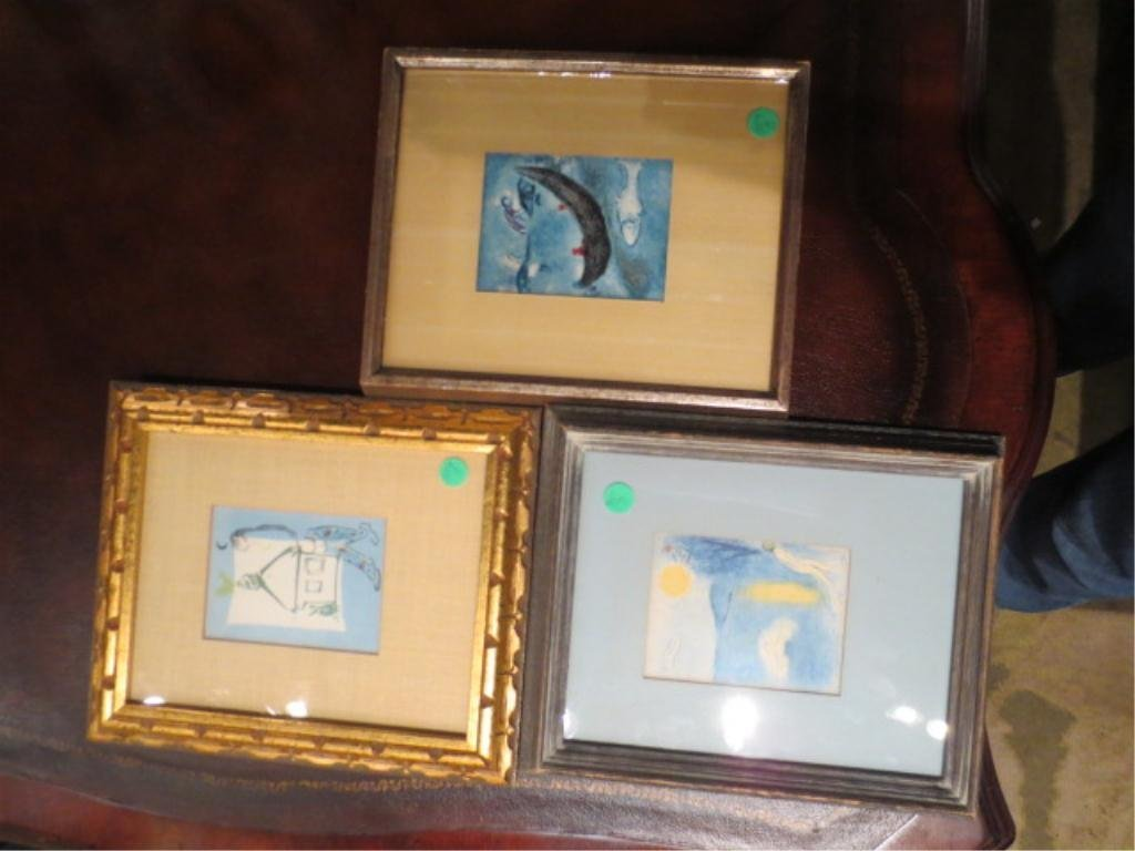 THREE CHAGALL PRINTS, SOLD TOGETHER, LARGEST APPROX 12""