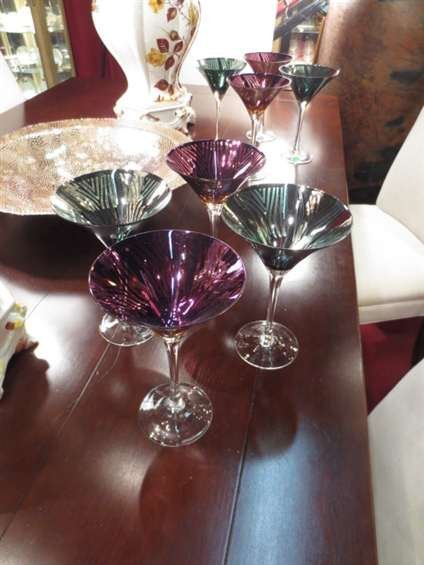8 COLORFUL MARTINI GLASSES - GREEN WITH SILVER AND PINK