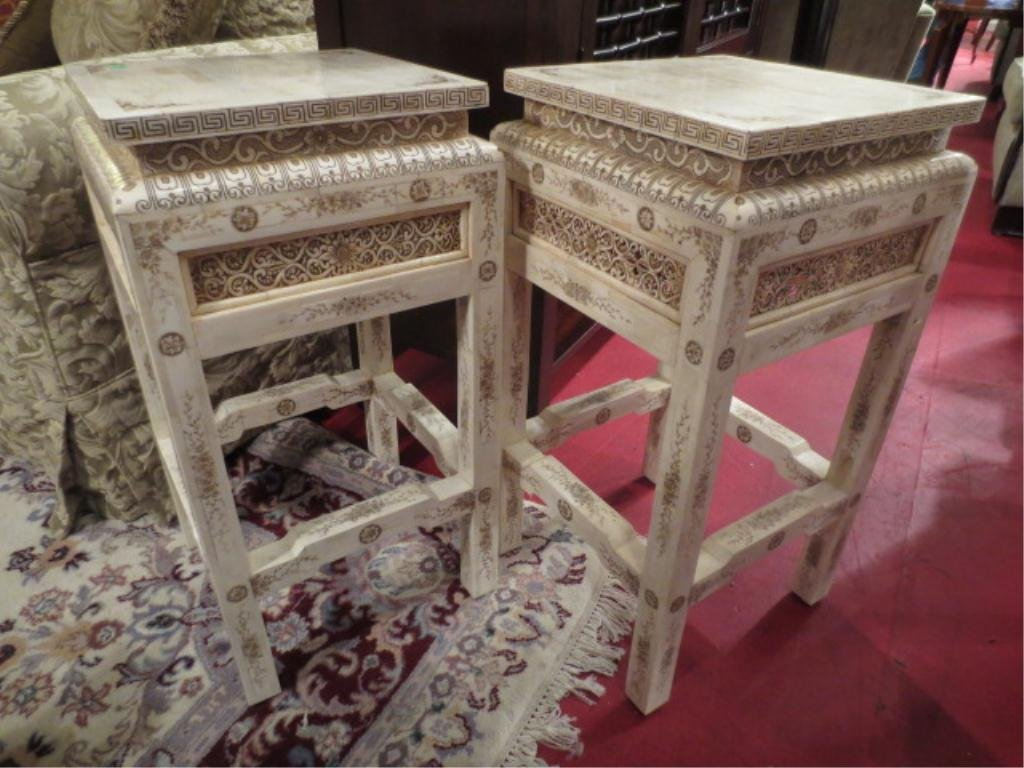 PAIR CHINESE INTRICATELY CARVED BONE TABLES, SQUARE WAI