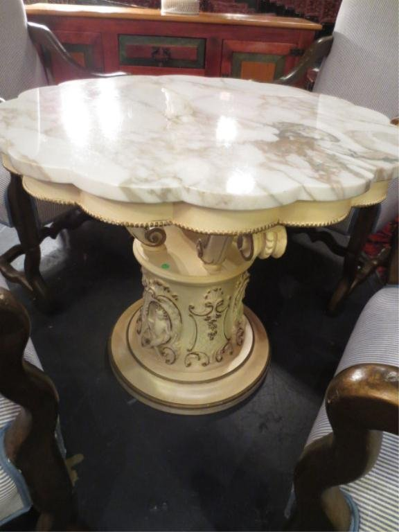 ORNATE FRENCH STYLE TABLE, WHITE FINISH, WHITE MARBLE T