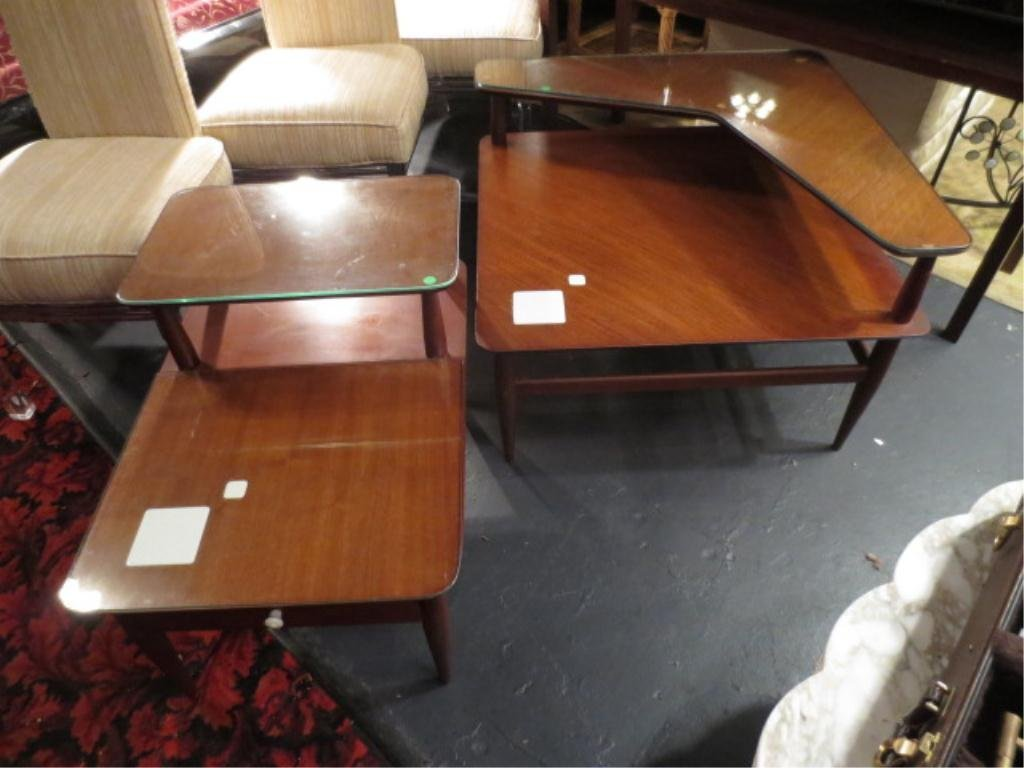 2 PC SET VINTAGE 1950's TABLES, 2 TIERS WITH WITH DECOR
