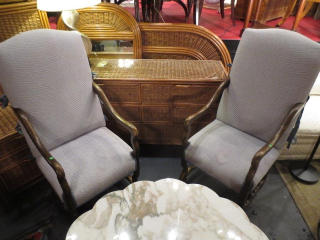# 1 OF TWO AVAILABLE PAIRS KREISS ARMCHAIRS, LIGHTLY DI